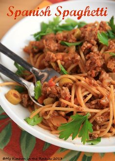 Spanish Spaghetti with Olives   My Kitchen in the Rockies