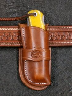 Knife Sheath Cowboy for Jumbo Trapper - Bullard Leather Mfg. Leather Carving, Leather Art, Custom Leather, Leather Tooling, Knife Holster, Tactical Pocket Knife, Holsters, Swiss Army Pocket Knife, Best Pocket Knife