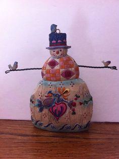 "Jim Shore Heartwood Creek Christmas Winter's Song Snowman Wire Birds Ornament 5"""