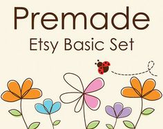 Premade Etsy Banner Set - Etsy Banner Avatar - Etsy Shop Set - Flowers and Ladybug