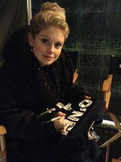 """The """"Traveling Jersey"""" visits the Once Upon A Time Set Rose McIver"""