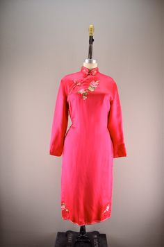 Silk cheongsam / Vintage asian dress / Embroidered by melsvanity, $68.00