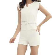 Fashion Women Two Pieces V Neck Zipper Front Sleeveless Top Shorts Pants Twin Set with Belt White