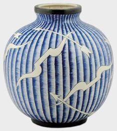 Gio Ponti - Richard Ginori - San Cristoforo Vaso sferico in ceramica smaltata in bianco e blu