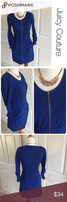 Juicy Couture cobalt zipper dress with pockets S ♦️Excellent condition. No holes, stains or piling.                                                  ♦️Materials- 87 cotton/ 13 polyester ♦️Measurements:                                  ♦️Laying flat armpit to armpit: approximately 15.5 inches.                                              ♦️Laying flat from the back of the neck to the bottom of the front hem is approximately 31 inches Juicy Couture Dresses Mini