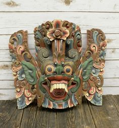 Vintage Hand Carved Wood Garuda Mask Painted Bali Barong Wall Decor Art Carved Wood, Painted Wood, Hand Carved, Mask Painting, Painting On Wood, Barong Bali, Eagle Mask, Pig Mask, Indonesian Art