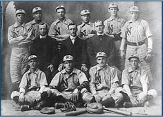 In 1899, a semi-pro team called the Navies was organized. Branch Rickey and Al Bridwell played briefly for the Navies.  In this photo taken about 1902, Bridwell is pictured in the 3rd row, 4th from the left.