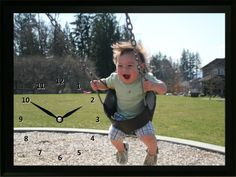 This Child on Swing Clock shows how much fun this little guy is having on a swing. What a great memory for his parents in the years to come. Great Memories, Clocks, Parents, Guys, Children, Baby, Fathers, Boys, Tag Watches