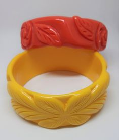and Cream Set of Three Vintage Candy Corn Bakelite Bracelets in Orange Yellow