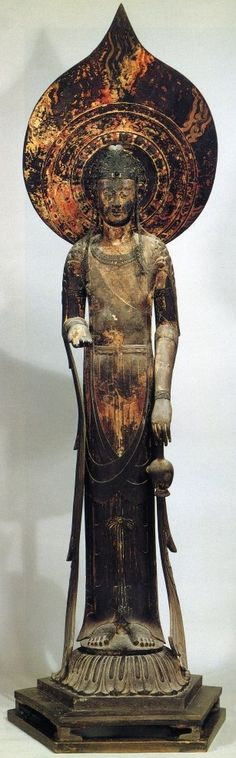 """Kudara Kannon, 7th C., Horyu-ji Temple Japan. Gilded camphor wood made by koreans. The flask symbolizes the """"nectar"""" of Kannon's compassion -- it pacifies the thirst of those who pray to Kannon for assistance."""