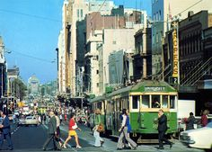 """Swanston St looking south across Lt Bourke St The Ropers Building on the R became the """"Lounge"""" nightclub and today sports a big balcony that really should never have been permitted. Melbourne Tram, Places In Melbourne, Melbourne Victoria, Victoria Australia, Arkansas, Terra Australis, Bonde, Hotel California, Rock Pools"""