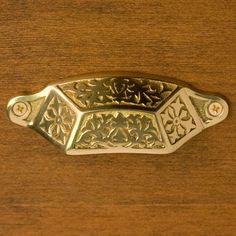 Victorian Solid Brass Bin Pull - Polished Brass