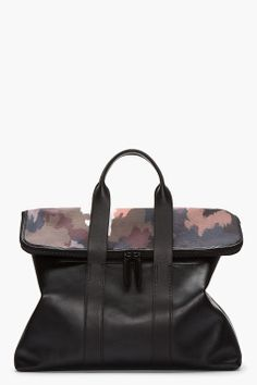 3.1 Phillip Lim Black Leather And Dark Camo 31 Hour Bag