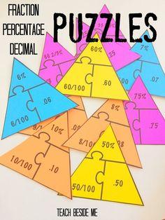 Fraction Percentage Decimal Puzzles- Fun Math Game