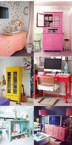 decoração com móveis coloridos Retro Furniture, Furniture Decor, Painted Furniture, Colorful Furniture, Deco Cool, Room Interior, Interior Design, Home And Deco, Furniture Makeover