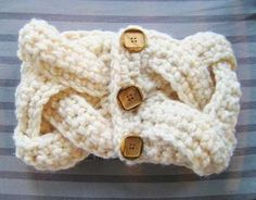 Braided Cowl Free Crochet Pattern - really easy, single crochet, with big, bold buttons.  Coordinates with faux cable arm warmers, also done in single crochet.