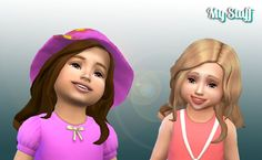 Sims 4 | Long Curls for Toddler #Kiara / My Stuff hair hairstyle female base game converted