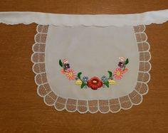 Hungarian Apron, Kalocsa hand embroidered, folk art apron,