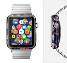 The Multicolored Leaves Pattern v32 Full-Body Skin Set for the Apple Watch