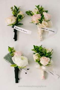 Gorgeous elegant white and pink boutonnieres   image by  www.lovetreephotography.ca