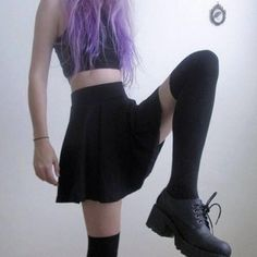anothor style that is in. a black skater skirt, and high knee socks. top it off with either a dark, or light crop top and a white beanie, ame shoes and vohla