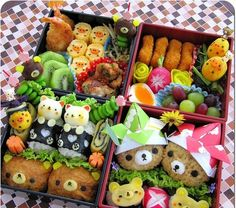 bento with multiple variations of Rilakkuma