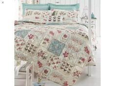 Shabby Chic Patchwork Duvet Cover Floral Pink Amp Duck Egg