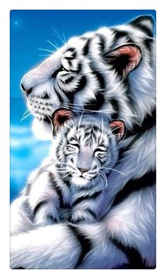 Tiger mother tiger baby 5D diamond embroidery cube drill sets full decorative diy diamond painting cross stich needlework #Affiliate