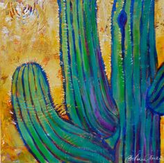 Saguaro by Morning by Catalina O. Rankin acrylic on Canvas Cactus Painting, Cactus Art, House Painting, Desert Art, Chalk Art, Home Art, Frederic Remington, Desert Mountains, Illustration Art