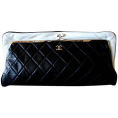 667d5cae47a9 Chanel Black Lambskin Matelassé Clutch White Trim Chain Coin Purse 2009 Box  | From a collection