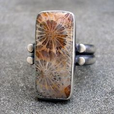 Fossil Coral Ring  Agatized Coral and Sterling Silver by lsueszabo, $185.00