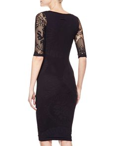 3/4-Sleeve Square Neck Dress, Black