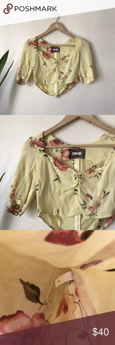 "Reformation yellow Crop Top Floral 90s Style Silk Gently used, no flaws! Armpit to armpit 15"", length 12-13"" Reformation Tops Blouses"