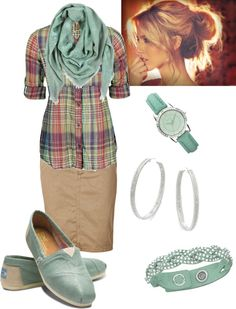 Mint and plaid.. Cute for something different. Longer skirt for me.