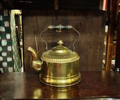 Antique FLORAL Embossed BRASS TEAPOT by mytesoros on Etsy, $75.00