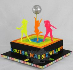Neon Disco Party cake - cake by Suzanne Readman - Cakin' Faerie