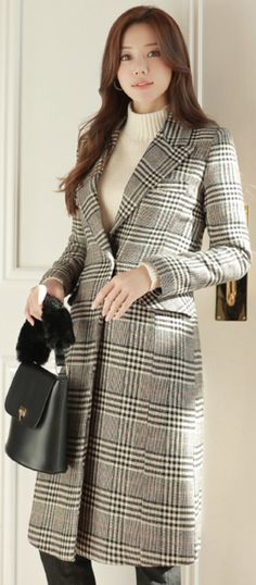 42ae94e60f6 Glen Check Print Quilted Lining Wool Coat