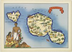 Map of Tahiti and Moorea Tahiti, Bora Bora, Outre Mer, Pictorial Maps, France, South Pacific, French Polynesia, Info, Travel Posters