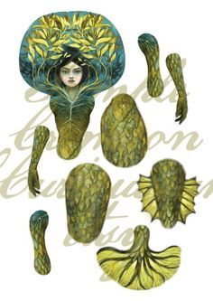 PDF Mermaid articulated paper doll DIY by CrimsonCuriouseum