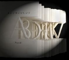 A Roman Alphabet by Helen Malone. 1993. Concertina book of Arches HP paper and sumi ink with cut and embossed letters. References carved Roman inscriptions which gave the illusion of being embossed out of the surface and bas-relief carvings on temple friezes. Sculptural concertina book. 11 cm x 10 cm x 8 cm