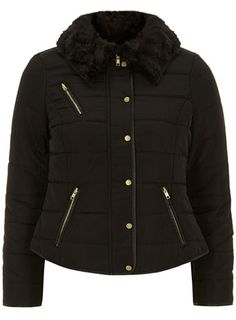 The Styling Up stylists recommend: Dorothy Perkins: Petite faux fur trim puffa jacket, black