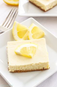 Greek Yogurt Lemon Cheesecake Bars | Lightened up, creamy and bursting with fresh lemon flavor, these Greek Yogurt Lemon Cheesecake Bars are the perfect dessert to make this spring!