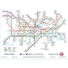 Subway underground map 1wall pinterest underground map wall 1wall london subway map wallpaper mural sciox Choice Image