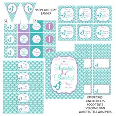MERMAID PARTY printable party package by SLDESIGNTEAM on Etsy