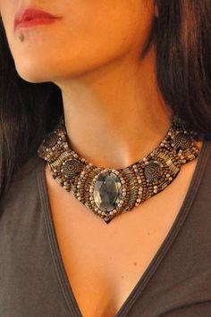 Gray olive green Moroccan inspired bib collar by AniDandelion, $36.00