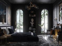 Black bedroom design and visualization by yasmeen wassim Apartment Interior Design, Interior Design Living Room, Art Deco Bedroom, Bedroom Decor, Inside Castles, Black Bedroom Design, Contemporary Interior Design, 3ds Max, My Dream Home