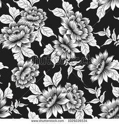 Line Art Flowers, Flower Art, Stock Foto, Adult Coloring Pages, Flower Prints, Flower Patterns, Fabric Design, Illustration, Design Inspiration