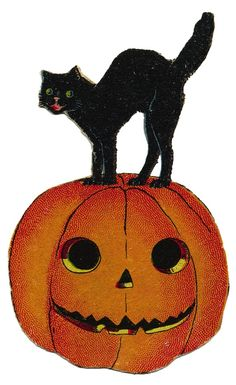 free vintage halloween cat in pumpkin image all kinds of craft rh pinterest com old fashioned halloween clipart old fashioned halloween clipart