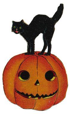 free vintage halloween cat in pumpkin image all kinds of craft rh pinterest com vintage halloween clipart vintage halloween clip art images