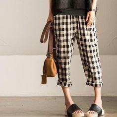 Art Casual Grid Cotton Linen Trouser Women Pants K601A